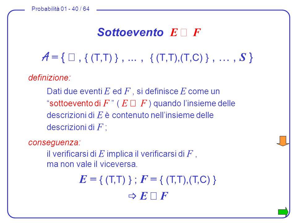 Probabilità 01 - 40 / 64 Sottoevento E F A = {, { (T,T) },..., { (T,T),(T,C) }, …, S } definizione: Dati due eventi E ed F, si definisce E come unsott