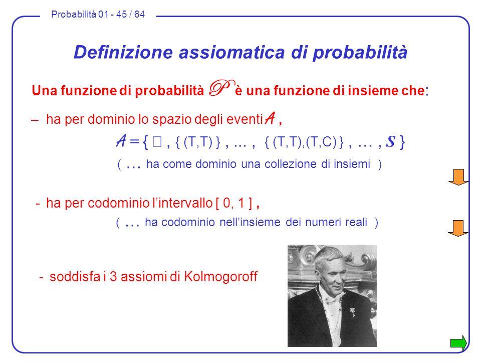 Probabilità 01 - 45 / 64 Definizione assiomatica di probabilità Una funzione di probabilità P è una funzione di insieme che : –ha per dominio lo spazi