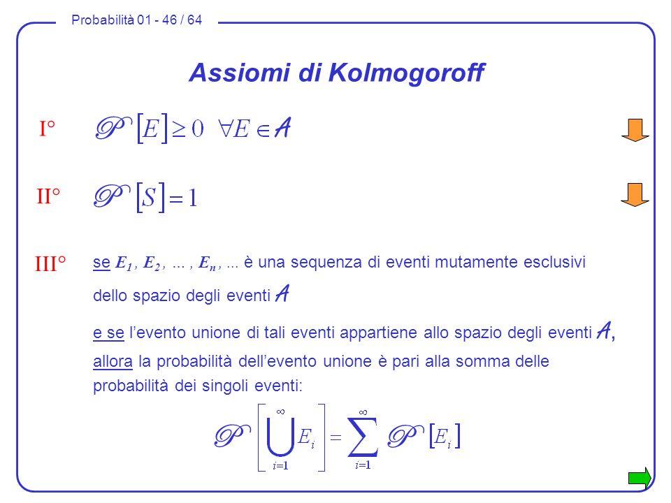 Probabilità 01 - 46 / 64 se E 1, E 2, …, E n,... è una sequenza di eventi mutamente esclusivi dello spazio degli eventi A e se levento unione di tali