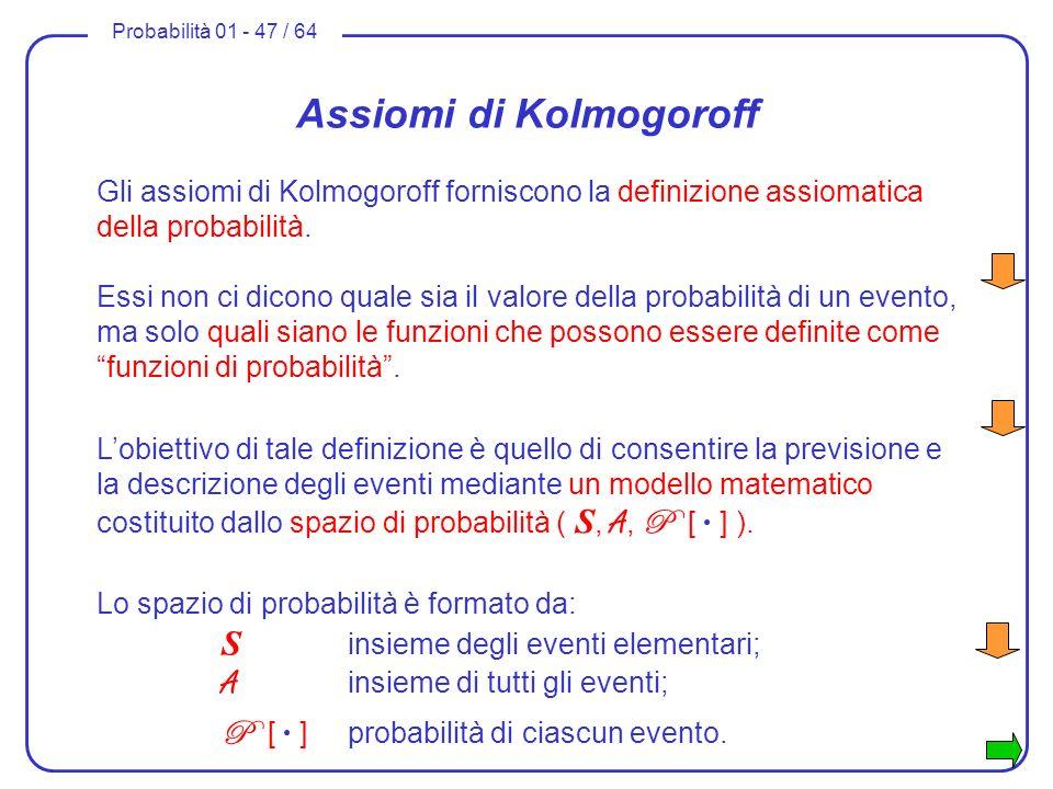 Probabilità 01 - 47 / 64 Assiomi di Kolmogoroff Gli assiomi di Kolmogoroff forniscono la definizione assiomatica della probabilità. Essi non ci dicono