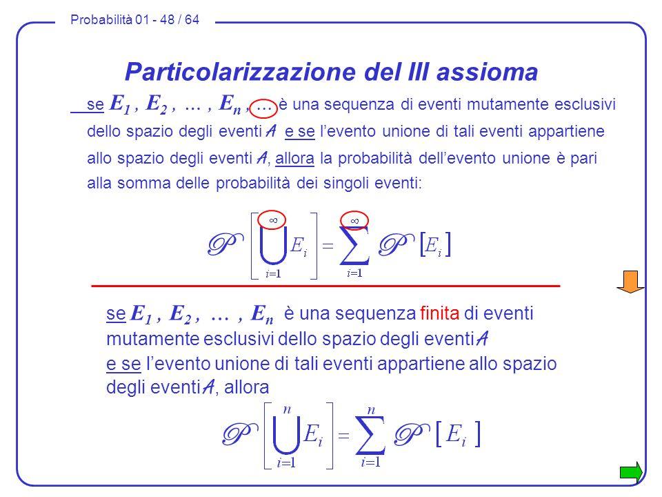 Probabilità 01 - 48 / 64 se E 1, E 2, …, E n,... è una sequenza di eventi mutamente esclusivi dello spazio degli eventi A e se levento unione di tali