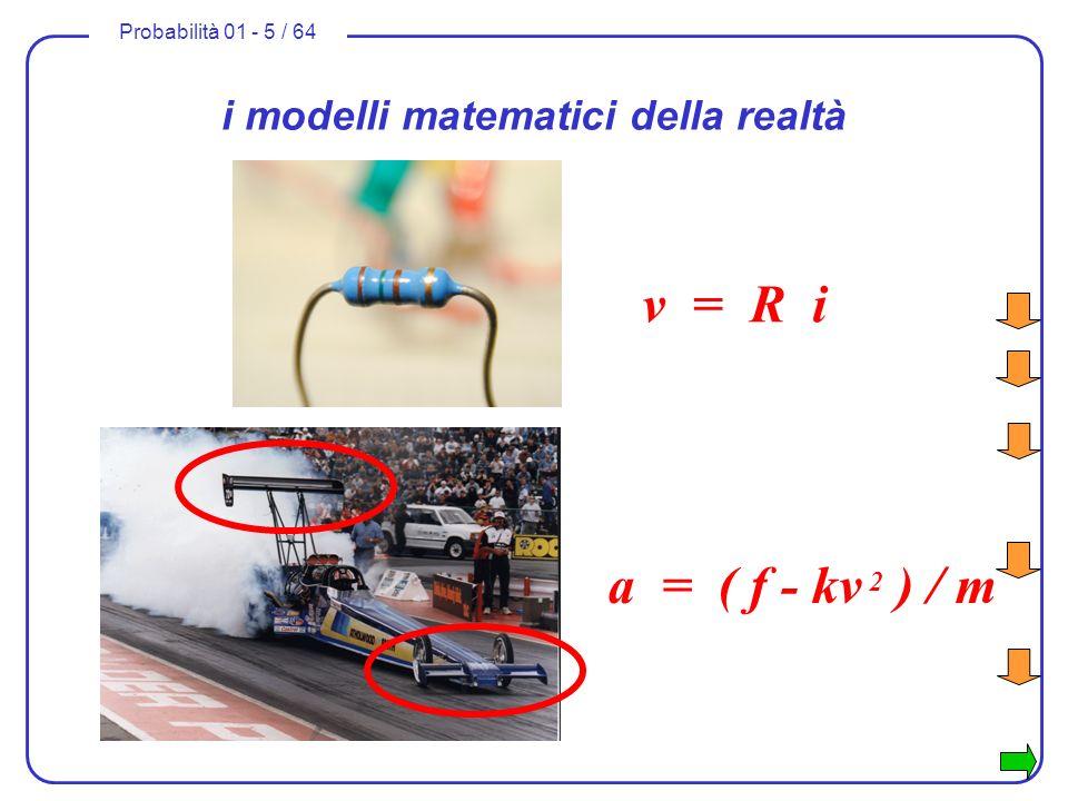 Probabilità 01 - 5 / 64 a = f / m i modelli matematici della realtà v = R i a = ( f - kv 2 ) / m