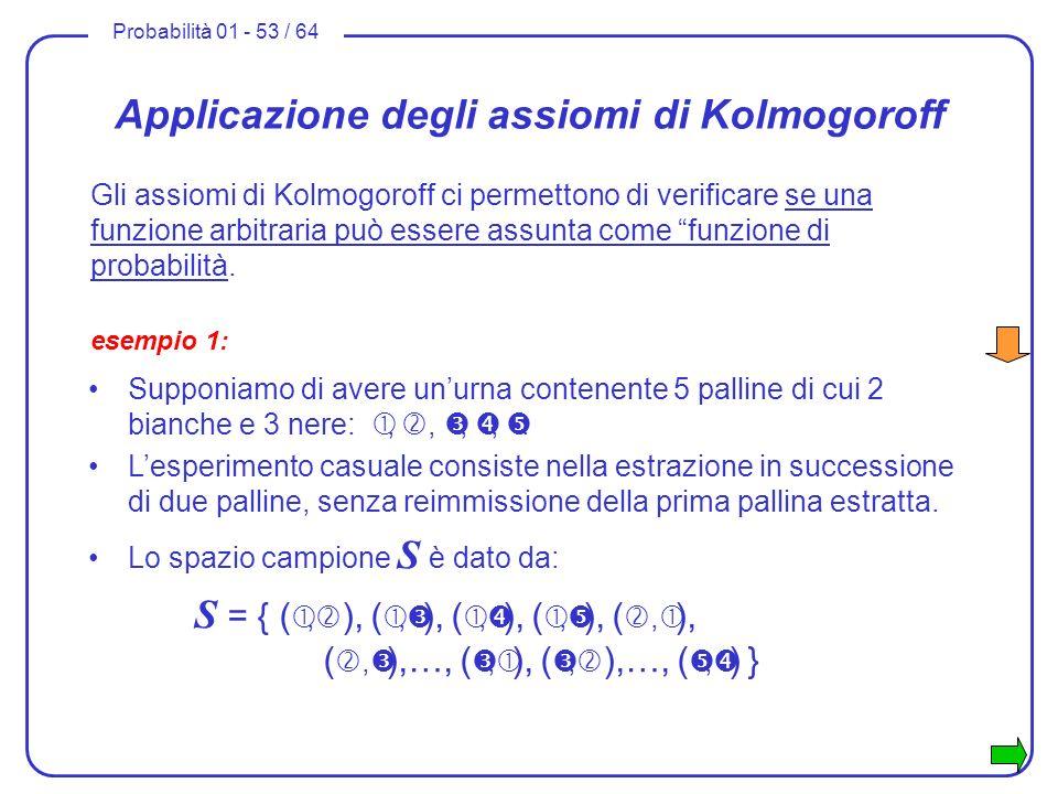 Probabilità 01 - 53 / 64 Applicazione degli assiomi di Kolmogoroff Gli assiomi di Kolmogoroff ci permettono di verificare se una funzione arbitraria p