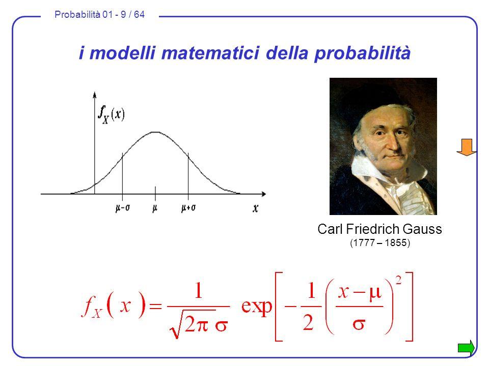 Probabilità 01 - 9 / 64 i modelli matematici della probabilità Carl Friedrich Gauss (1777 – 1855)