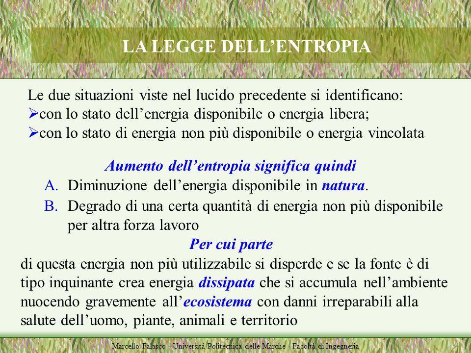 LA LEGGE DELLENTROPIA Marcello Falasco - Università Politecnica delle Marche - Facoltà di Ingegneria 1.Lentropia è quella parte di energia che viene p