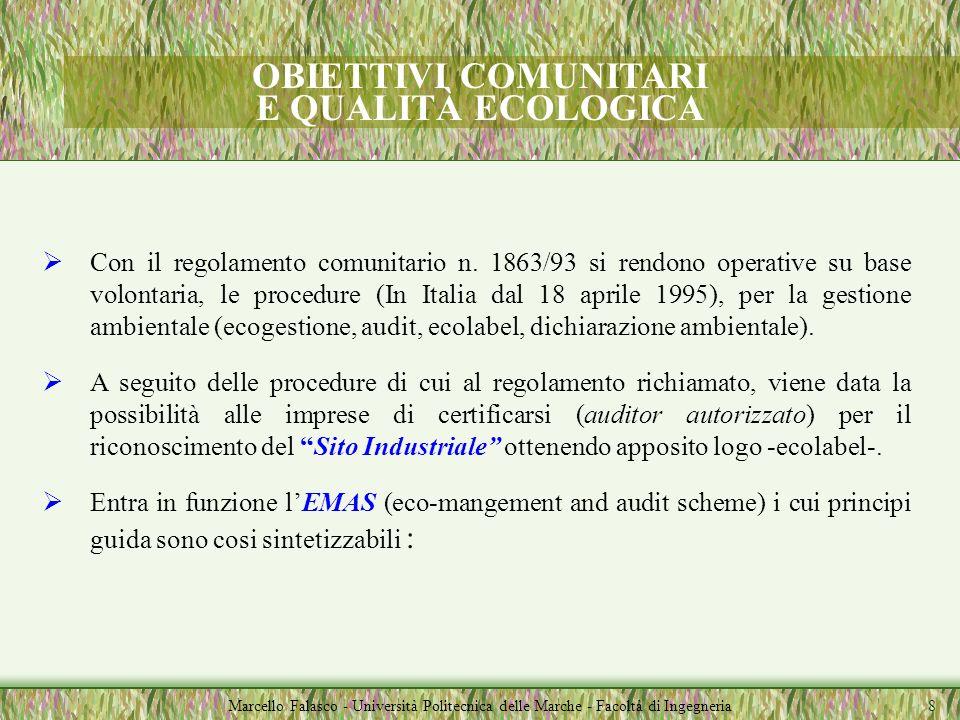 OBIETTIVI COMUNITARI E QUALITÀ ECOLOGICA Marcello Falasco - Università Politecnica delle Marche - Facoltà di Ingegneria Con il regolamento comunitario n.