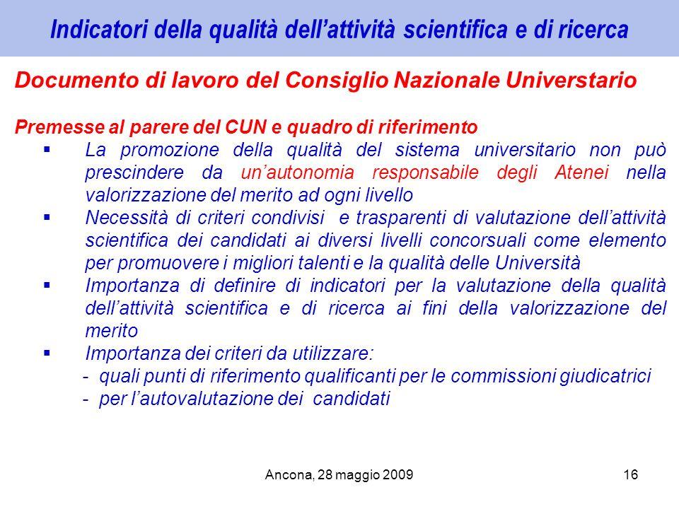 Ancona, 28 maggio 200916 Indicatori della qualità dellattività scientifica e di ricerca Documento di lavoro del Consiglio Nazionale Universtario Preme