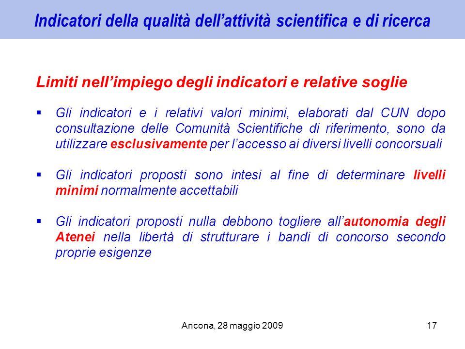 Ancona, 28 maggio 200917 Indicatori della qualità dellattività scientifica e di ricerca Limiti nellimpiego degli indicatori e relative soglie Gli indi