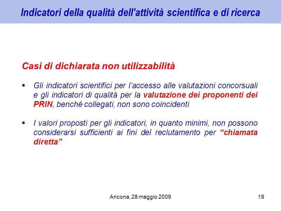 Ancona, 28 maggio 200919 Indicatori della qualità dellattività scientifica e di ricerca Casi di dichiarata non utilizzabilità Gli indicatori scientifi