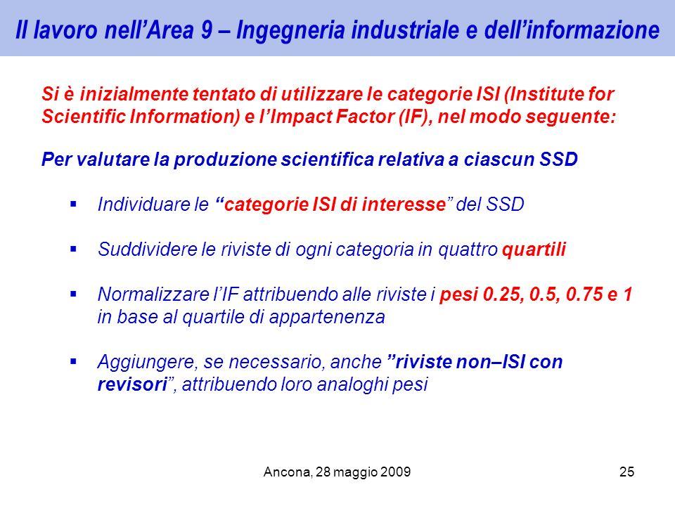 Ancona, 28 maggio 200925 Il lavoro nellArea 9 – Ingegneria industriale e dellinformazione Si è inizialmente tentato di utilizzare le categorie ISI (In