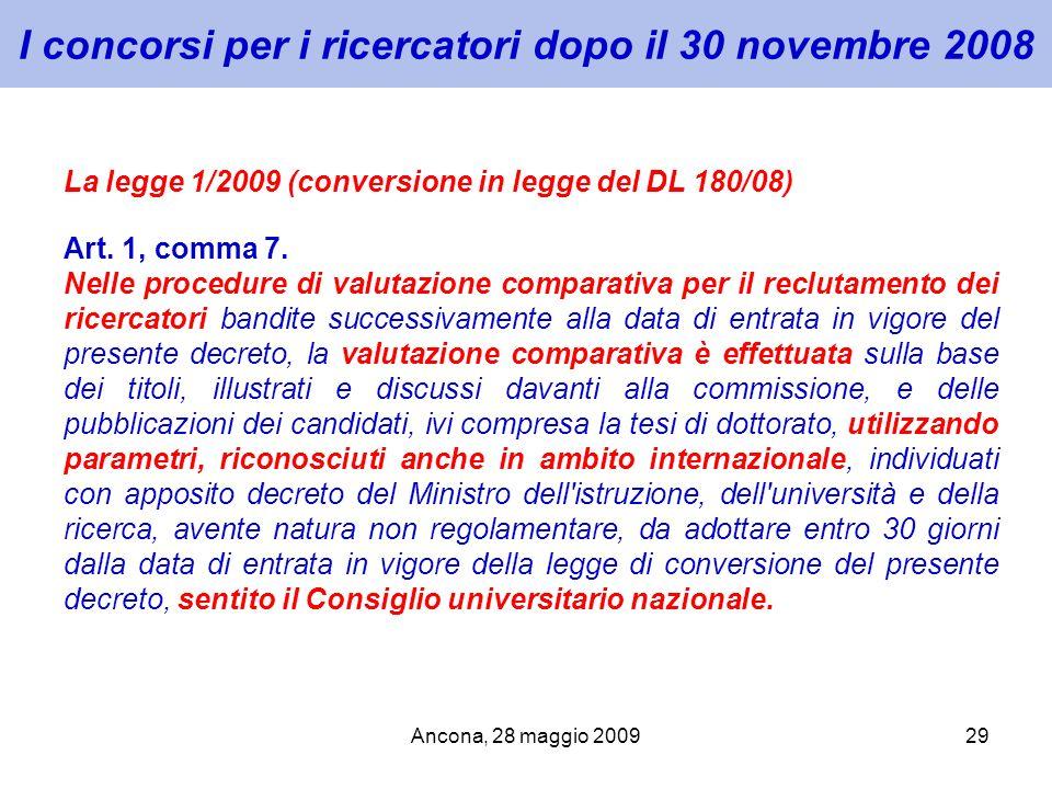 Ancona, 28 maggio 200929 I concorsi per i ricercatori dopo il 30 novembre 2008 La legge 1/2009 (conversione in legge del DL 180/08) Art. 1, comma 7. N