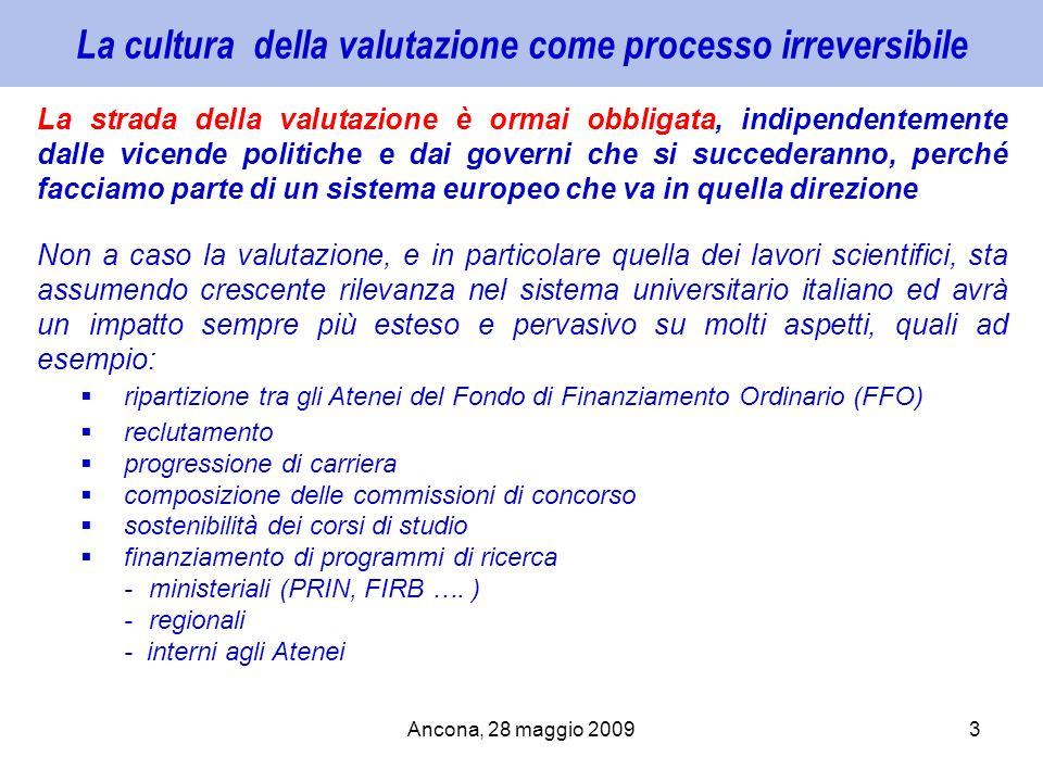 Ancona, 28 maggio 20093 La cultura della valutazione come processo irreversibile La strada della valutazione è ormai obbligata, indipendentemente dall