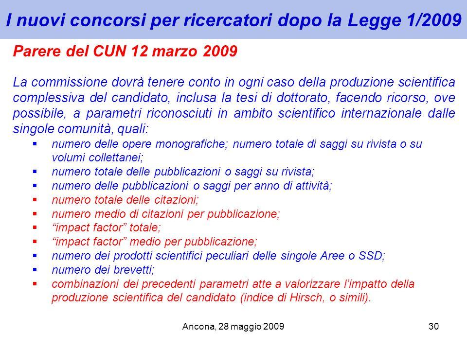 Ancona, 28 maggio 200930 I nuovi concorsi per ricercatori dopo la Legge 1/2009 Parere del CUN 12 marzo 2009 La commissione dovrà tenere conto in ogni