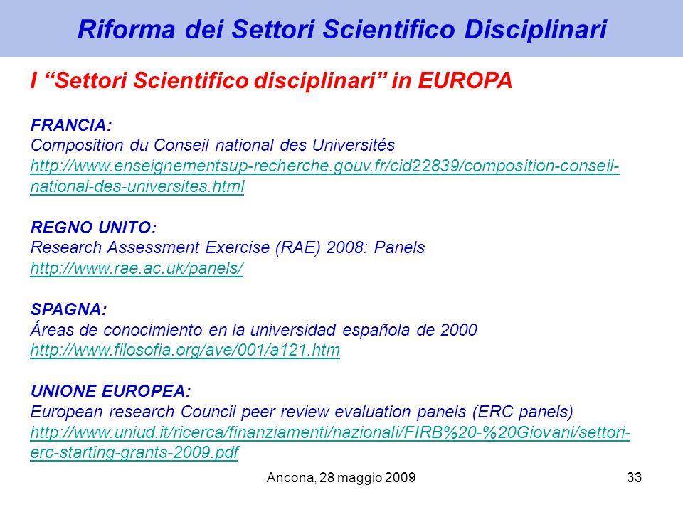 Ancona, 28 maggio 200933 Riforma dei Settori Scientifico Disciplinari I Settori Scientifico disciplinari in EUROPA FRANCIA: Composition du Conseil nat