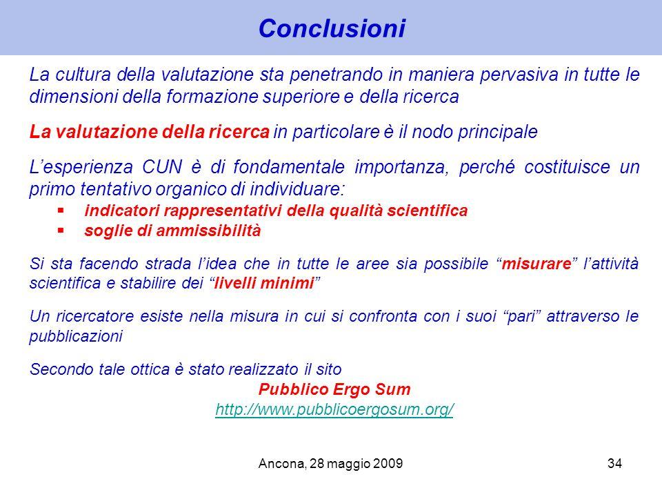 Ancona, 28 maggio 200934 Conclusioni La cultura della valutazione sta penetrando in maniera pervasiva in tutte le dimensioni della formazione superior