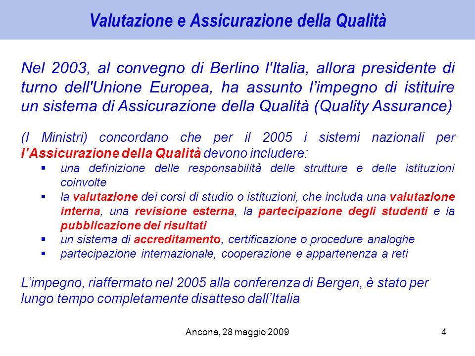 Ancona, 28 maggio 20094 Valutazione e Assicurazione della Qualità Nel 2003, al convegno di Berlino l'Italia, allora presidente di turno dell'Unione Eu