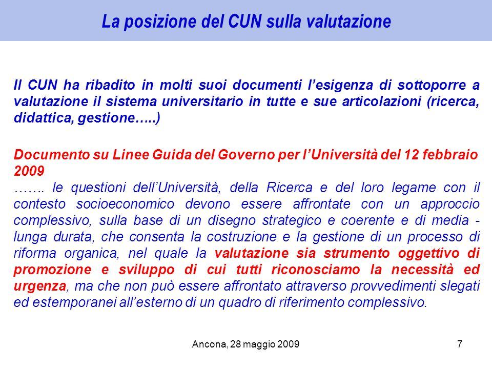 Ancona, 28 maggio 20097 La posizione del CUN sulla valutazione Il CUN ha ribadito in molti suoi documenti lesigenza di sottoporre a valutazione il sis