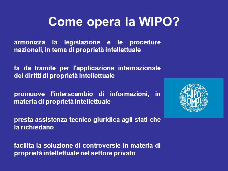 Come opera la WIPO? armonizza la legislazione e le procedure nazionali, in tema di proprietà intellettuale fa da tramite per l'applicazione internazio