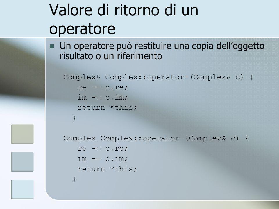 Valore di ritorno di un operatore Un operatore può restituire una copia delloggetto risultato o un riferimento Complex& Complex::operator-(Complex& c) { re -= c.re; im -= c.im; return *this; } Complex Complex::operator-(Complex& c) { re -= c.re; im -= c.im; return *this; }