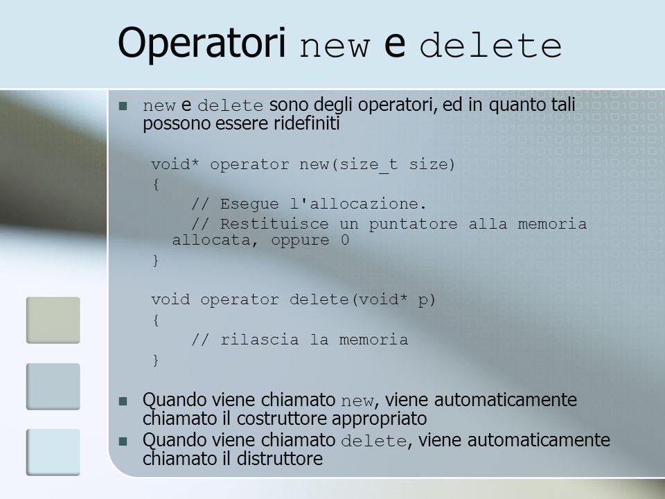 Operatori new e delete new e delete sono degli operatori, ed in quanto tali possono essere ridefiniti void* operator new(size_t size) { // Esegue l allocazione.