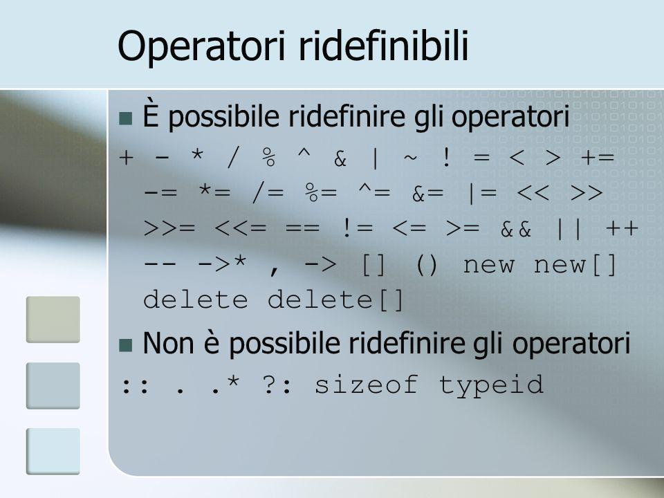 Operatori ridefinibili È possibile ridefinire gli operatori + - * / % ^ & | ~ .