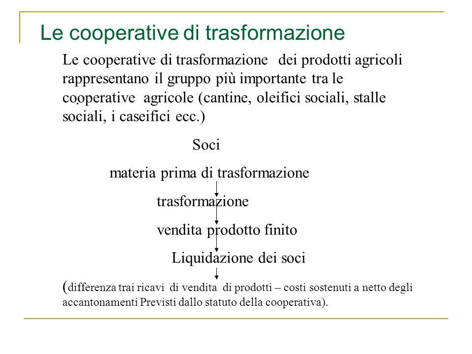 . Le cooperative di trasformazione dei prodotti agricoli rappresentano il gruppo più importante tra le cooperative agricole (cantine, oleifici sociali