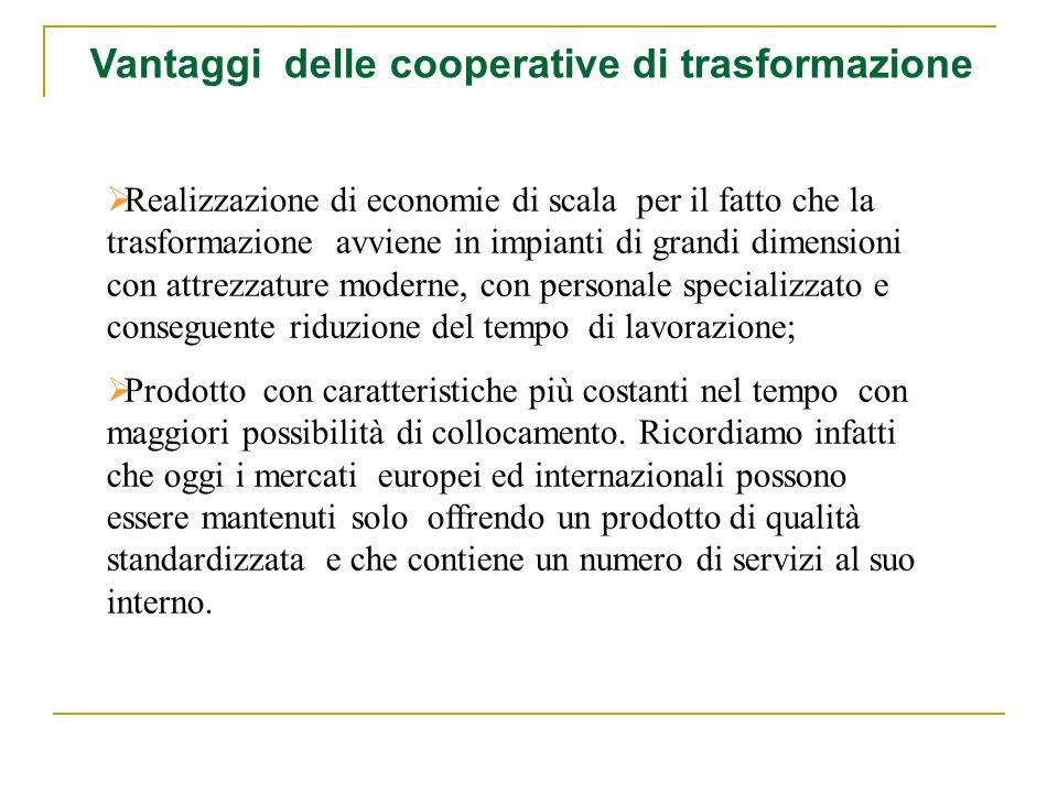 Realizzazione di economie di scala per il fatto che la trasformazione avviene in impianti di grandi dimensioni con attrezzature moderne, con personale