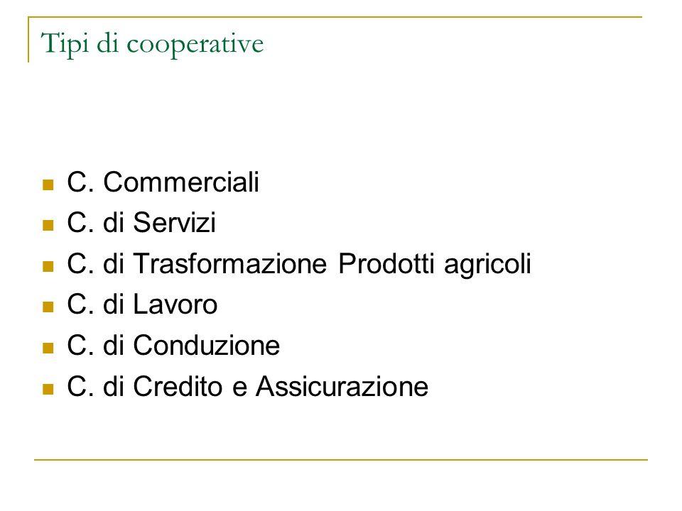 Tipi di cooperative C. Commerciali C. di Servizi C. di Trasformazione Prodotti agricoli C. di Lavoro C. di Conduzione C. di Credito e Assicurazione
