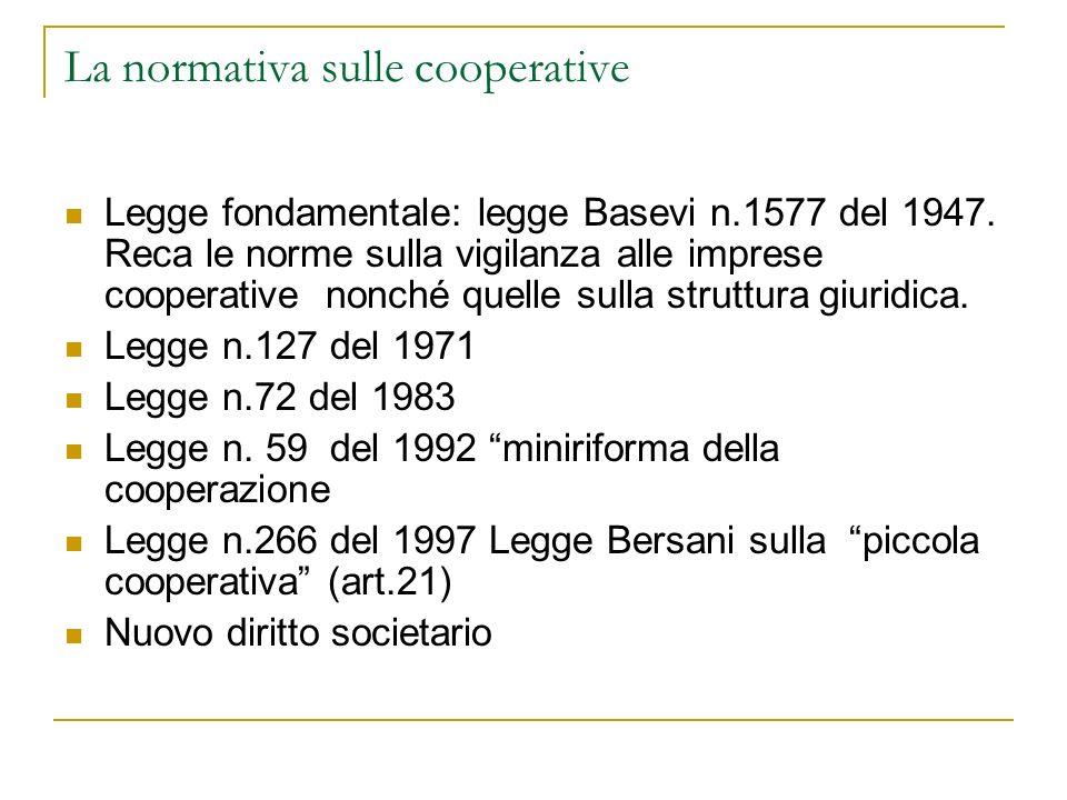 La normativa sulle cooperative Legge fondamentale: legge Basevi n.1577 del 1947. Reca le norme sulla vigilanza alle imprese cooperative nonché quelle
