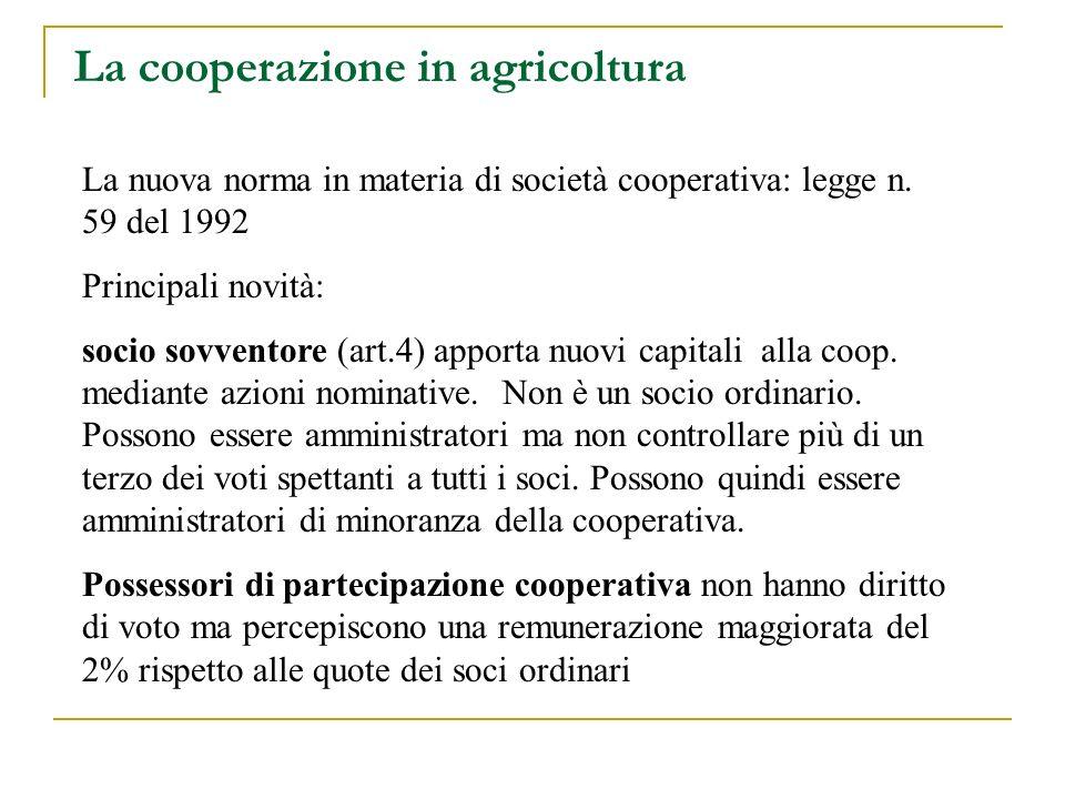 La cooperazione in agricoltura La nuova norma in materia di società cooperativa: legge n. 59 del 1992 Principali novità: socio sovventore (art.4) appo