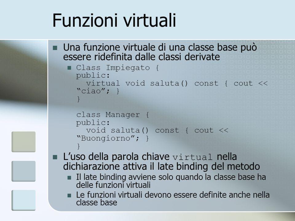 Funzioni virtuali Una funzione virtuale di una classe base può essere ridefinita dalle classi derivate Class Impiegato { public: virtual void saluta() const { cout << ciao; } } class Manager { public: void saluta() const { cout << Buongiorno; } } Luso della parola chiave virtual nella dichiarazione attiva il late binding del metodo Il late binding avviene solo quando la classe base ha delle funzioni virtuali Le funzioni virtuali devono essere definite anche nella classe base