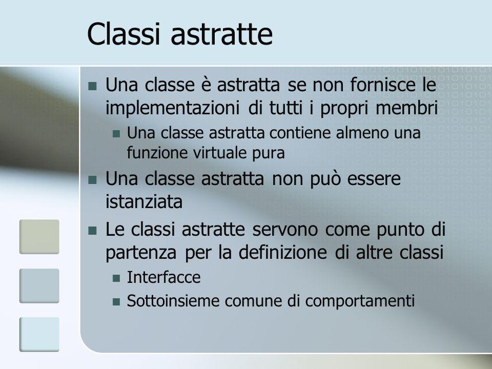 Classi astratte Una classe è astratta se non fornisce le implementazioni di tutti i propri membri Una classe astratta contiene almeno una funzione virtuale pura Una classe astratta non può essere istanziata Le classi astratte servono come punto di partenza per la definizione di altre classi Interfacce Sottoinsieme comune di comportamenti