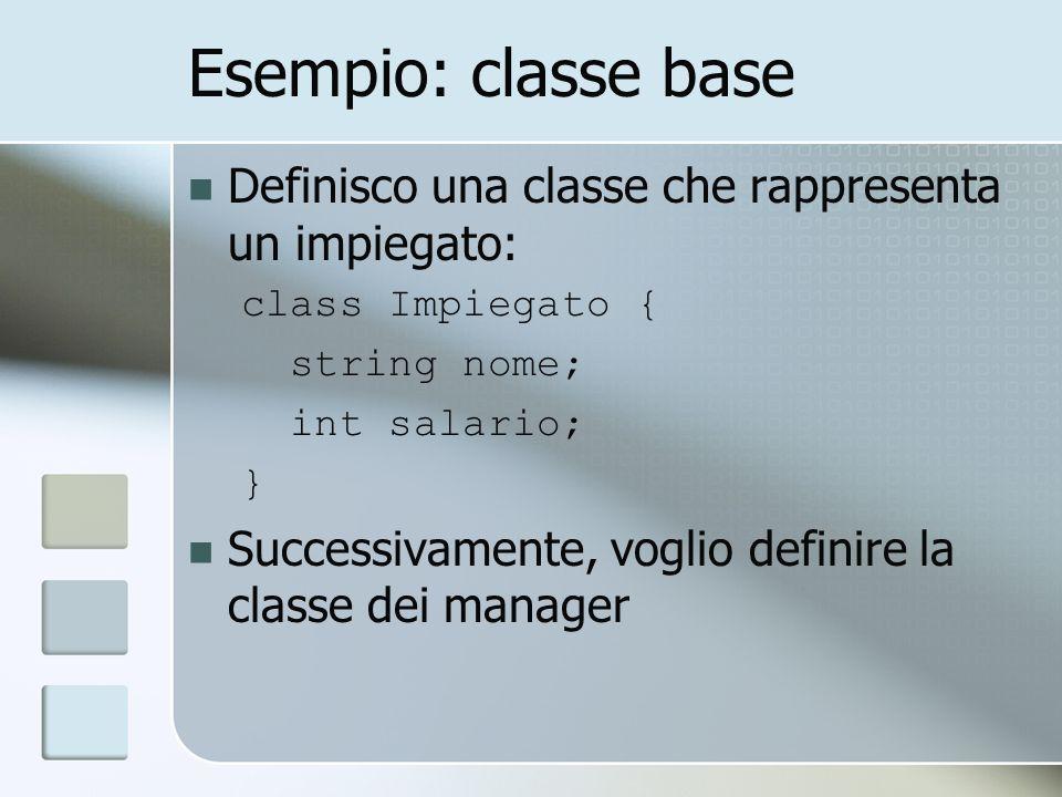 Esempio: classe base Definisco una classe che rappresenta un impiegato: class Impiegato { string nome; int salario; } Successivamente, voglio definire la classe dei manager