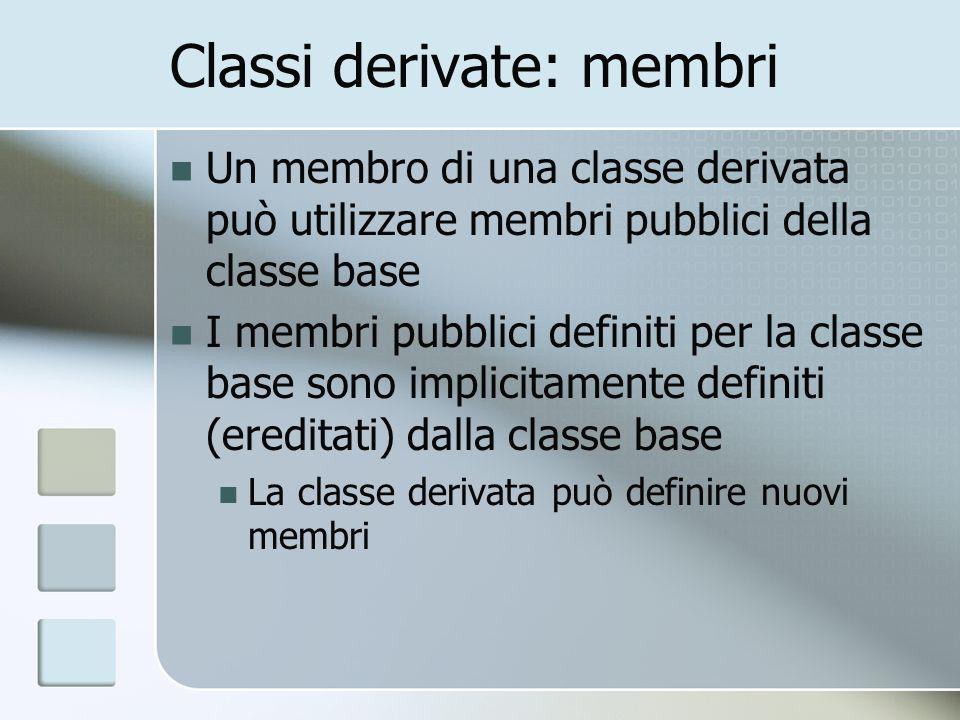Classi derivate: membri Un membro di una classe derivata può utilizzare membri pubblici della classe base I membri pubblici definiti per la classe base sono implicitamente definiti (ereditati) dalla classe base La classe derivata può definire nuovi membri