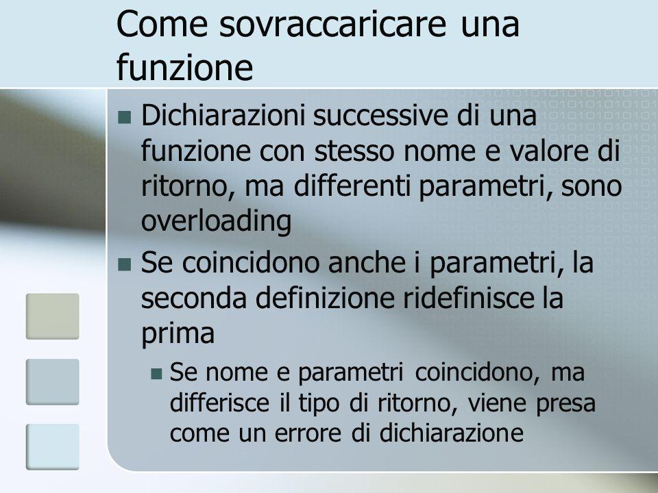 Sovraccaricamento e campo dazione Le funzioni sovraccaricate sono definite nello stesso campo dazione Una funzione locale non sovraccarica, ma nasconde una funzione globale