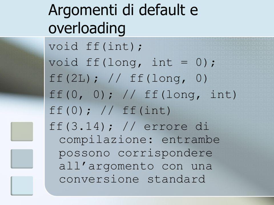 Argomenti di default e overloading void ff(int); void ff(long, int = 0); ff(2L); // ff(long, 0) ff(0, 0); // ff(long, int) ff(0); // ff(int) ff(3.14); // errore di compilazione: entrambe possono corrispondere allargomento con una conversione standard
