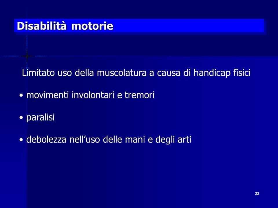 22 Disabilità motorie Limitato uso della muscolatura a causa di handicap fisici movimenti involontari e tremori paralisi debolezza nelluso delle mani e degli arti
