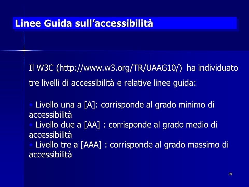 30 Linee Guida sullaccessibilità Il W3C (http://www.w3.org/TR/UAAG10/) ha individuato tre livelli di accessibilità e relative linee guida: Livello una a [A]: corrisponde al grado minimo di accessibilità Livello due a [AA] : corrisponde al grado medio di accessibilità Livello tre a [AAA] : corrisponde al grado massimo di accessibilità