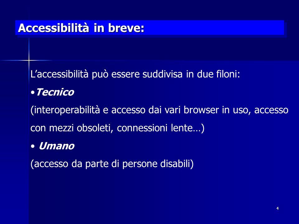 4 Accessibilità in breve: Laccessibilità può essere suddivisa in due filoni: Tecnico (interoperabilità e accesso dai vari browser in uso, accesso con mezzi obsoleti, connessioni lente…) Umano (accesso da parte di persone disabili)