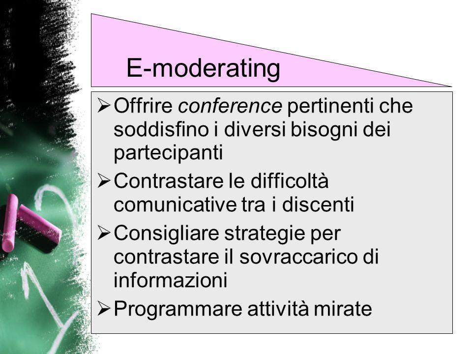 Fornire indicazioni per le risorse elettroniche da utilizzare come approfondimento per la discussione online Richiamare i partecipanti allosservazione dei protocolli di comunicazione E-moderating