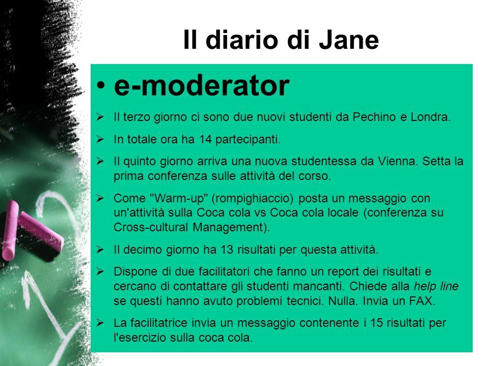 Il diario di Jane e-moderator Inizia una sotto-conferenza con alcune domande di analisi dei dati.