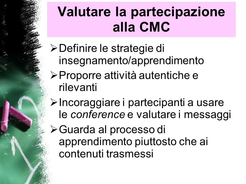 Valutare la partecipazione alla CMC Guardare lapprendimento dei partecipanti come un tuttuno e non separare la CMC Accettare le diversità piuttosto che chiedere un apprendimento uniforme Considerare se i task sono stati completati