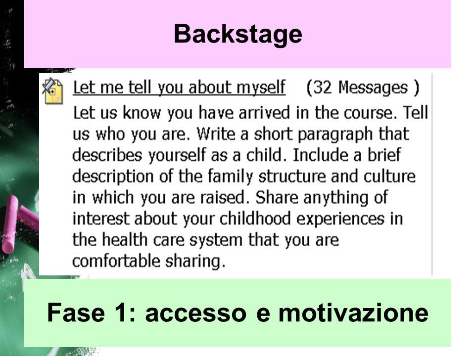 Backstage Fase 2: socializzazione