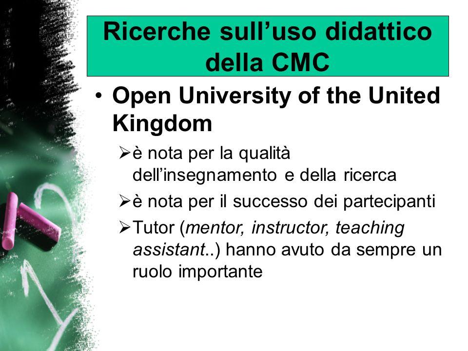 Effective PowerPoint Il successo della Open University sembra dovuto al supporto che i tutor offrono agli allievi 1991: le prime sperimentazioni sullutilizzo didattico della Computer Mediated Conferencing (CMC) presso la Open University Business School (OUBS) La piattaforma su cui G.