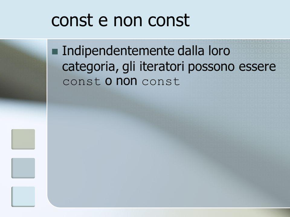 const e non const Indipendentemente dalla loro categoria, gli iteratori possono essere const o non const