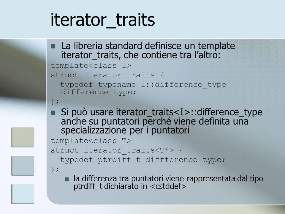 iterator_traits La libreria standard definisce un template iterator_traits, che contiene tra laltro: template struct iterator_traits { typedef typename I::difference_type difference_type; }; Si può usare iterator_traits ::difference_type anche su puntatori perché viene definita una specializzazione per i puntatori template struct iterator_traits { typedef ptrdiff_t diffference_type; }; la differenza tra puntatori viene rappresentata dal tipo ptrdiff_t dichiarato in