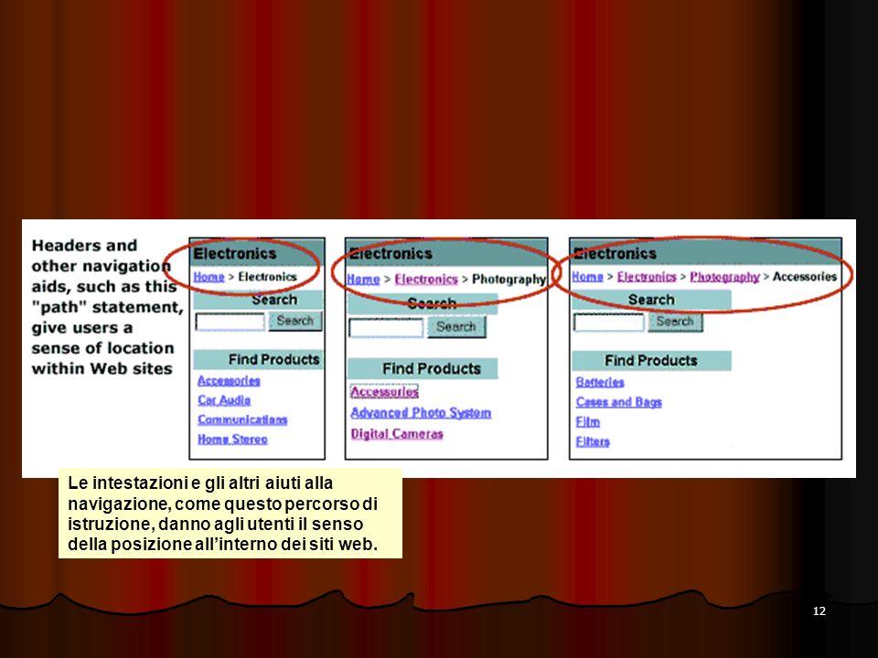 12 Le intestazioni e gli altri aiuti alla navigazione, come questo percorso di istruzione, danno agli utenti il senso della posizione allinterno dei s