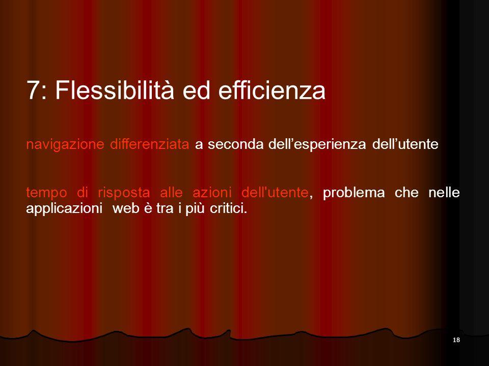 18 7: Flessibilità ed efficienza navigazione differenziata a seconda dellesperienza dellutente tempo di risposta alle azioni dell'utente, problema che