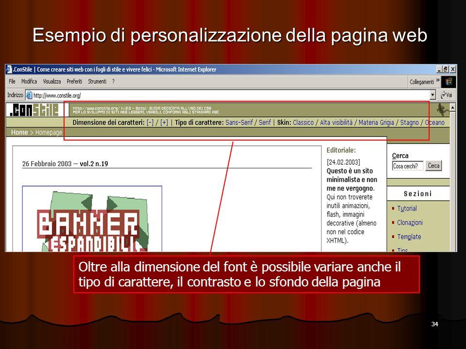 34 Oltre alla dimensione del font è possibile variare anche il tipo di carattere, il contrasto e lo sfondo della pagina Esempio di personalizzazione d