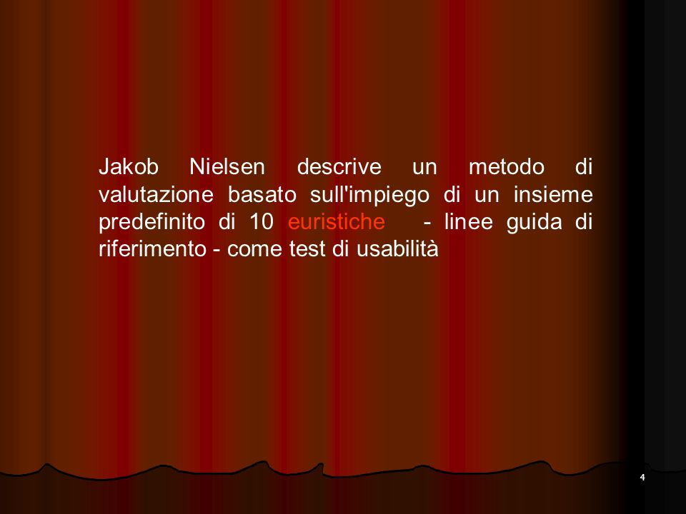 4 Jakob Nielsen descrive un metodo di valutazione basato sull'impiego di un insieme predefinito di 10 euristiche - linee guida di riferimento - come t